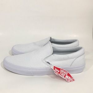 Vans Shoes - NWT Vans All White Perforated Leather SlipOn Shoes